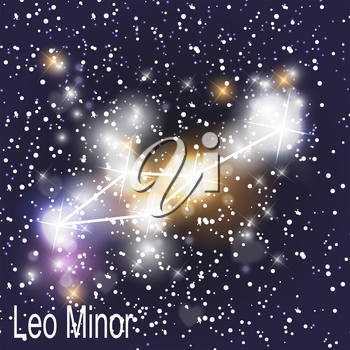 Leo Minor Constellation with Beautiful Bright Stars on the Background of Cosmic Sky Vector Illustration. EPS10