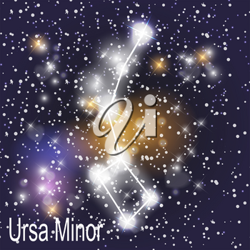Ursa Minor Constellation with Beautiful Bright Stars on the Background of Cosmic Sky Vector Illustration EPS10