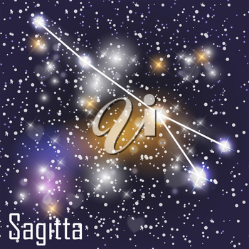 Sagitta Constellation with Beautiful Bright Stars on the Background of Cosmic Sky Vector Illustration. EPS10