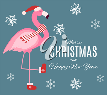 Cute Pink Flamingo New Year and Christmas Background Vector Illustration EPS10