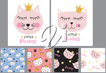 Little Cute Cat Princess Background and Seamless Pattern. Vector illustration EPS10