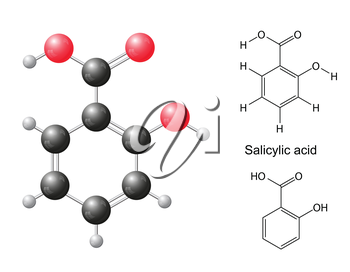 Structural chemical formulas and model of salicylic acid molecule