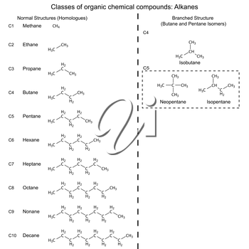 Set of organic chemicals - hydrocarbons: alkanes, 2d illustration, vector, eps 8