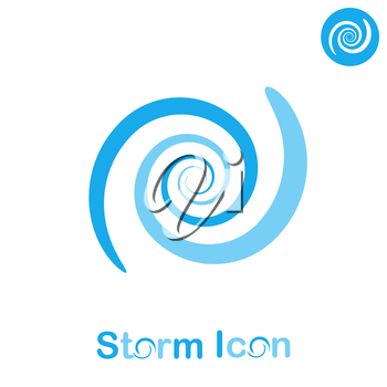 Storm spiral concept on white background, 2d flat illustration, vector, eps 8