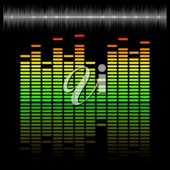 Eq, equalizer scale with reflection and chart, 2d vector on dark background, eps 10