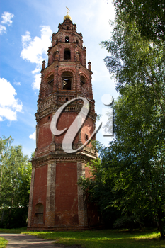The belfry of St. John the Baptist on the background of bright sky. Russia, Yaroslavl