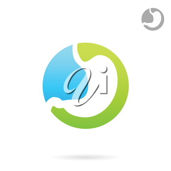 Treatment of gastrointestinal tract diseases, logo concept, 2d vector icon, eps 8