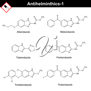 Chemical formulas of anthelmintic drugs of bendazole action - albendazole, mebendazole, tiabendazole, fenbendazole, triclabendazole, flubendazole, 2d vector isolated on white background, eps 8