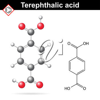 Terephthalic acid formula and chemical model, 2d and 3d illustration of molecular structure, lab vector, eps 8