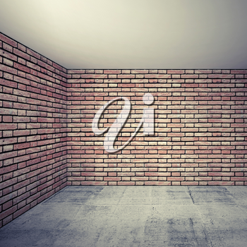 Empty room interior with red brick walls and concrete floor. 3d background with perspective effect