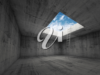 Metal ladder goes to the sky out from dark concrete interior, 3d illustration