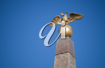 Double Eagle - Emblem of Russia on the monument in Helsinki, Finland