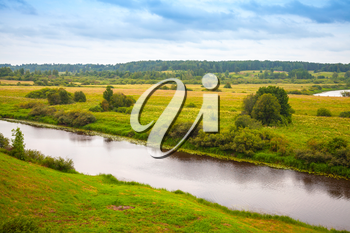 Sorot river in the summer day, rural Russian landscape