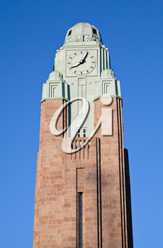 Clock tower of Helsinki central railway station. Finland