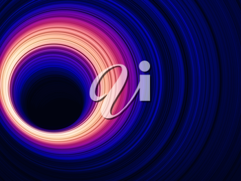 Tunnel with glowing rings, abstract digital graphic background, 3d render illustration