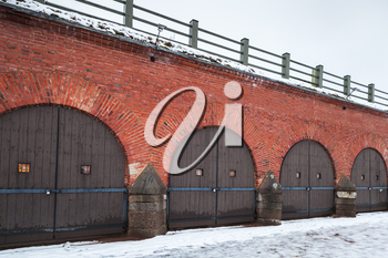 Closed gates in a row. Central bastion of Hamina Fortress is located in Finland