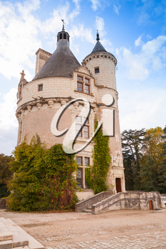 Towers of Chateau de Chenonceau, medieval castle in Loire Valley. It was built in 15 century, mixture of late Gothic and early Renaissance. Unesco heritage site