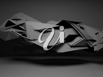Abstract black digital background, interior with dark chaotic polygonal structure, 3d render illustration