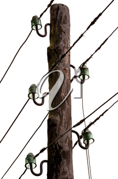 Wiring with isolators on an old rural electric pillar isolated on white