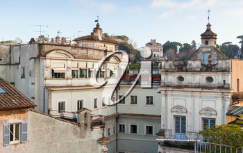 Skyline of old Rome, Italy. Via del Corso street view