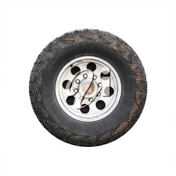 SUV car wheel, front view isolated on white background