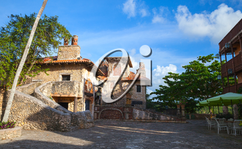 Street in Altos de Chavon, mediterranean style European village located atop the Chavon River in La Romana, Dominican Republic