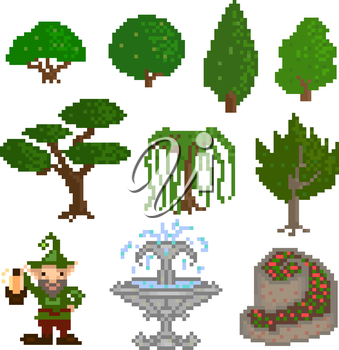 Set of ten elements, garden trees, shrubs and decorations in the style of pixel art. Vector illustration