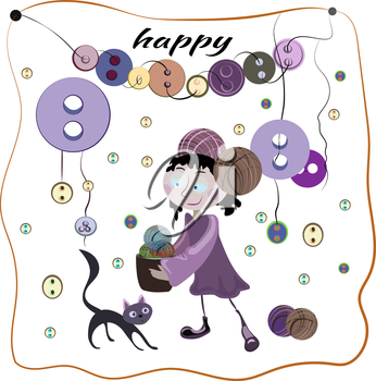 The girl collecting colorful tangles of thread and buttons. Black cat helps her. Vector illustration