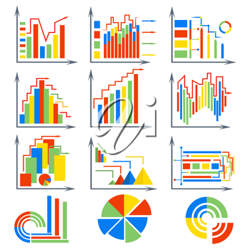 Set flat colorful charts on a white background. The graphs for data visualization business. Isolated icons for design. Vector illustration