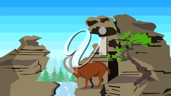 Goat on rocks with tree and forest coniferous on a background horizontal pattern seamless. In flat polygon style for design applications and sites. Animal, nature. Vector illustration