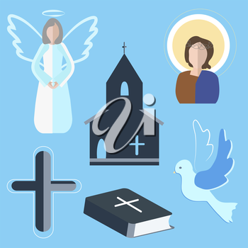Set of vector elements on the subject of religion. Icons with symbols of faith on a blue background. Angel, dove, cross into a flat style. It can be used to design flyers. Vector illustration