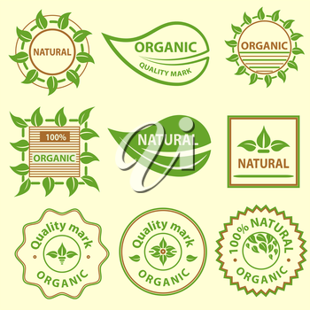 Organic products emblem, quality mark, leaflet elements, labels, set for food and drink, restaurants. Vector illustration