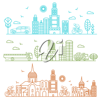 City illustration in linear style birds, buildings, cathedrals, clouds, machines, cyclist graphic design template. Vector Illustration