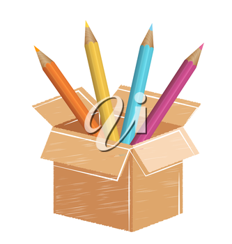 Multicolored pencils with drawn card box isolated on white background