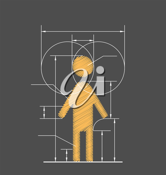 Drawing symbolized human resource isolated on gray background