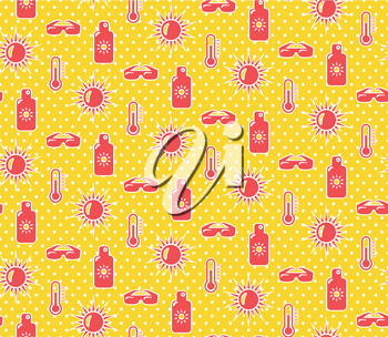 Bright fun summer seamless pattern with sunscreen cream sun and glasses on yellow background