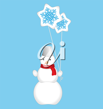 Snowman with balloons isolated on light blue