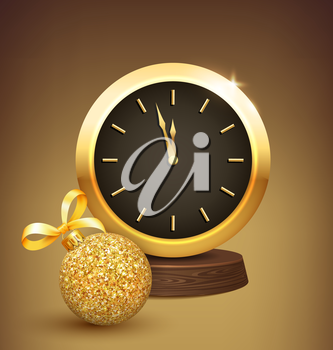 Festive New Year Background with Golden Christmas Ball and Clock