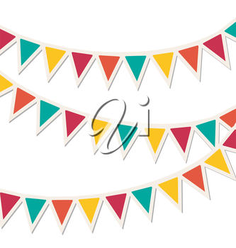 Set of multicolored flat buntings garlands isolated on white background