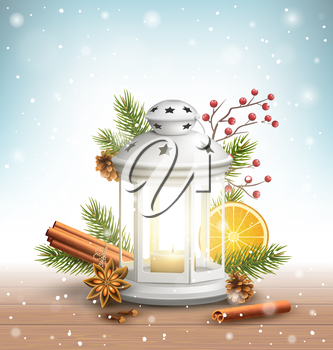 Christmas Lantern with Spices in Snowfall on Wooden Floor on Blue Background