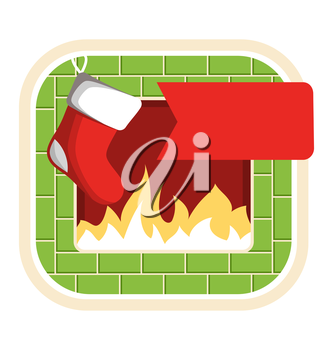 Christmas Label Icon Flat with Fireplace and Sock Isolated on White Background