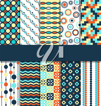 Seamless geometric bright contrast abstract patterns