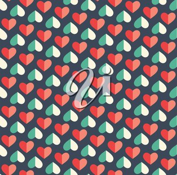 Seamless Festive Love Abstract Pattern with Hearts on Dark Blue Background