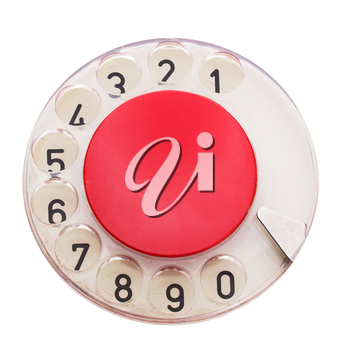 Dial of vintage red telephone