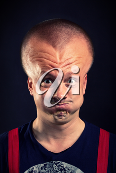 Stressed man with inflated head