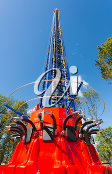 Free fall tower in amusement park