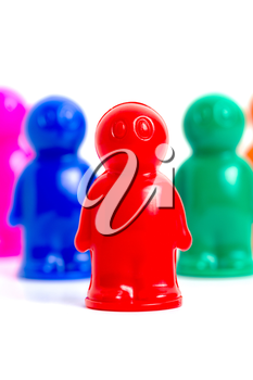 Colorful toy people group vertical image