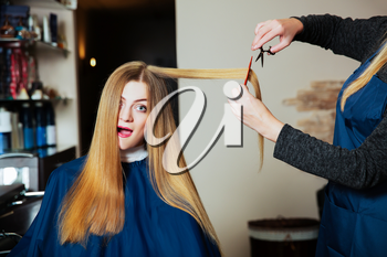 Stylist making hairstyle with scissors and comb in hands. Young woman with long hair.