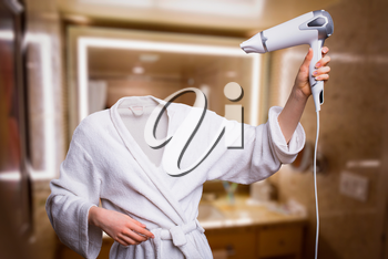 Woman with invisible head dry hair in bathroom. Girl with invisible face in bathrobe hold hairdryer in hands. Invisibility fantasy concept, transparent female person