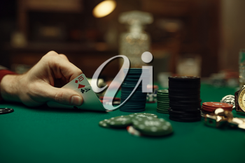 Male player hands with ace and ten cards, blackjack, casino, luck addiction. Games of chance. Man leisures in gambling house, gaming table with green cloth